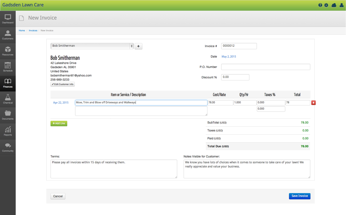 Creating Lawn Care Invoices