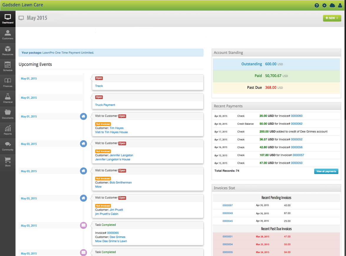 Lawn Care Business Dashboard